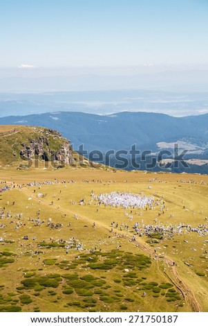 Celebration gathering in the mountain organized by the White Brotherhood. On nineteen of August there is the celebration of Gods` New Year with dances performed in circle - stock photo