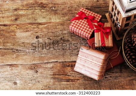 Celebration. Gifts on the floor - stock photo