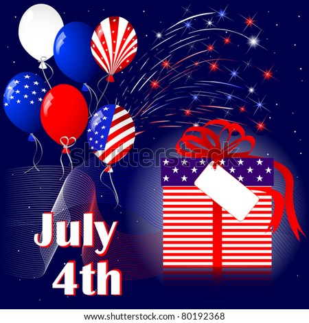 Celebration of independence day with fireworks. - stock photo