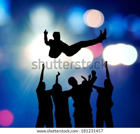 Celebration of the winner. - stock photo