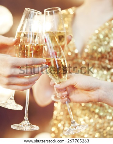 Celebration or party. People holding glasses of champagne making a toast - stock photo