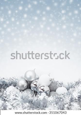 celebration silver christmas ball for decoration on sparkle snow background - stock photo