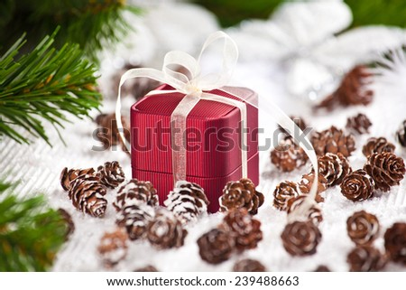 Celebration theme with christmas gifts. Great Christmas present with love - Jewelry beautiful Box.  - stock photo