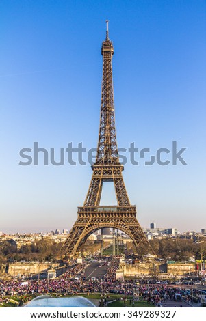 Celebrations at the Eiffel Tower in Paris, France - stock photo