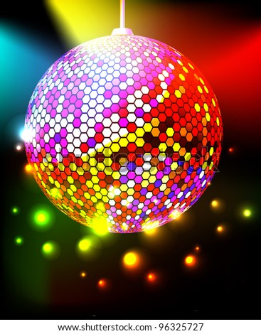 Celebratory background with disco ball. Raster version of vector. - stock photo