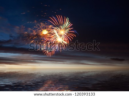 Celebratory bright firework in a night sky - stock photo