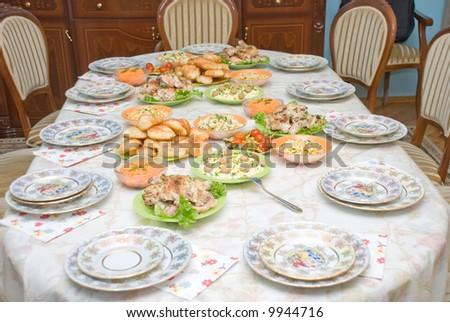 celebratory dinner - stock photo