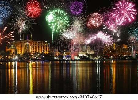 Celebratory fireworks at coast of Eilat (Red sea. Israel) - stock photo