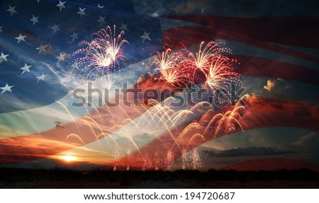 Celebratory fireworks on the background of the US flag and sunrise. Independence day - stock photo