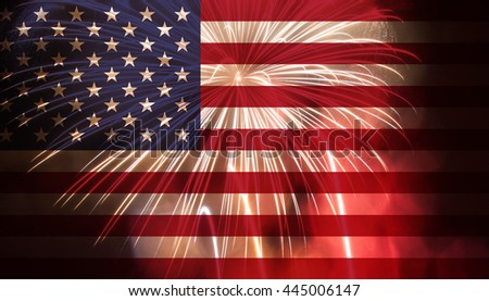 Celebratory fireworks on the background of the US flag. Independence day - stock photo