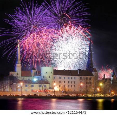Celebratory New Year's salute in Riga, Latvia. - stock photo