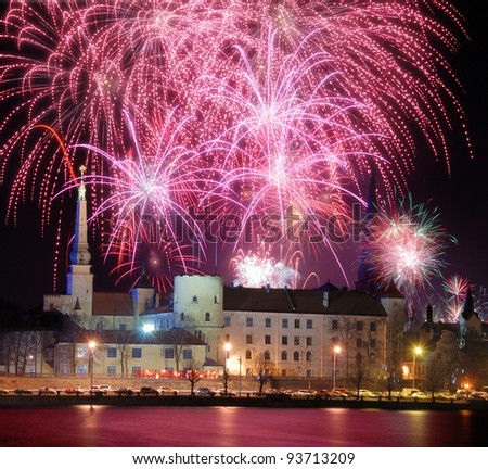 Celebratory New Year's salute in Riga on December, 31th, 2011. - stock photo