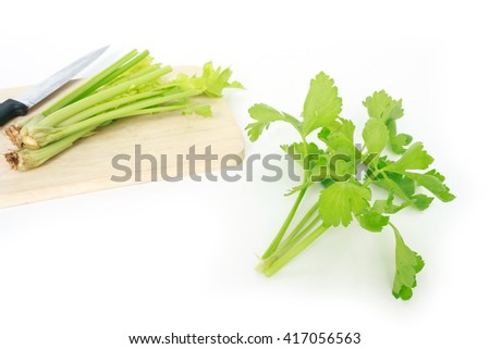 celery leaf stalk knife vegetable organic food healthy nature cutting board on white background - stock photo