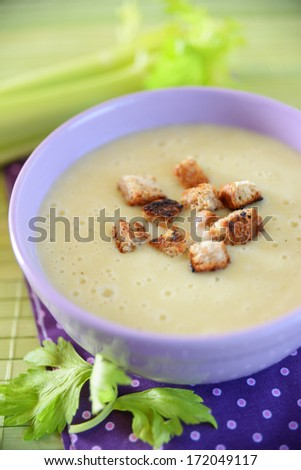 celery soup with croutons - stock photo