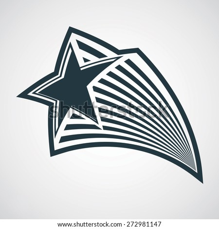 celestial object, pentagonal comet star illustration. Graphical stylized comet tail. Military retro design element. - stock photo