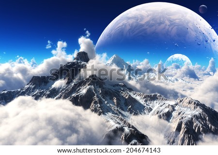Celestial view of snow capped mountains and an alien planet. - stock photo
