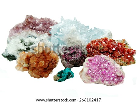 celestite quartz dioptase  semigem crystals geological mineral isolated  - stock photo