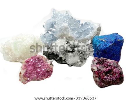 celestite quartz dioptase  semigem crystals geological mineral isolated  - stock photo
