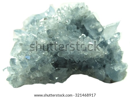 celestite semigem geode crystals geological mineral isolated  - stock photo
