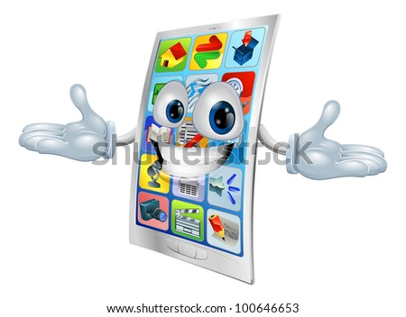 Cell phone character mascot cartoon illustration - stock photo