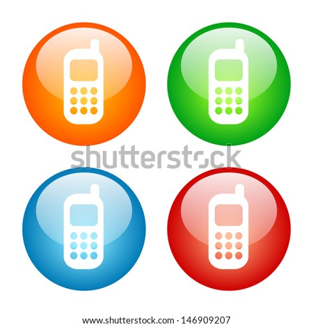 Cell Phone Colorful Glass Icon Set.  Raster version, vector also available. - stock photo