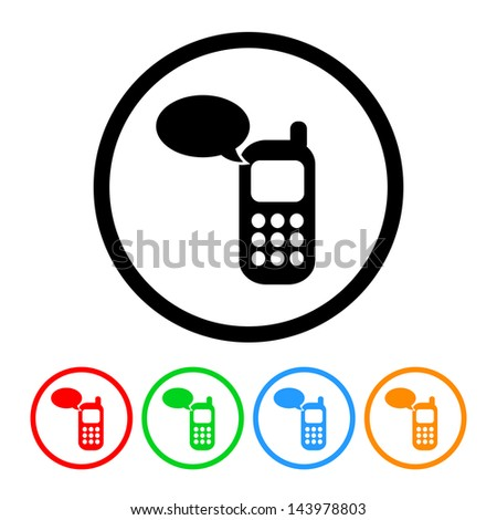 Cell Phone Communication Icon with Four Color Variations - Raster Version.  Vector Also Available. - stock photo