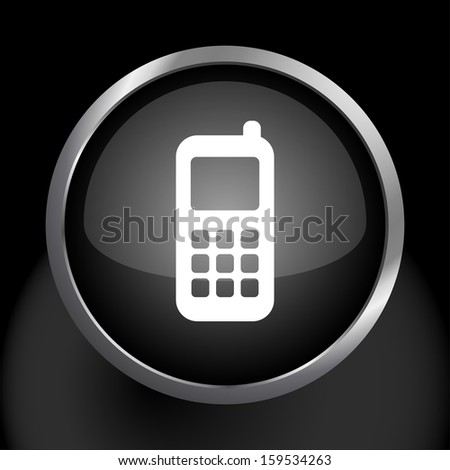 Cell Phone Icon Symbol with Glass Button Background.  Raster version. - stock photo