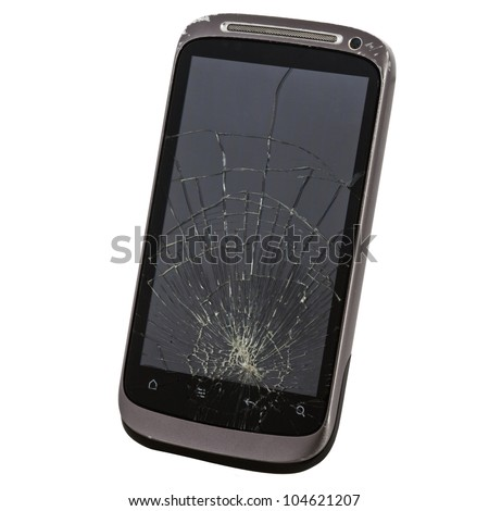 cell phone with a broken screen - stock photo