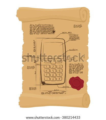 Cell phone with buttons on old scroll. Paper Project of ancient phone. Prehistoric mobile phone old Papyrus