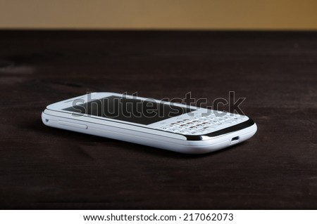 cell phone with full keyboard - stock photo