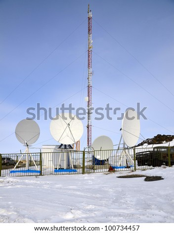 Cell site somewhere in Arctic - stock photo