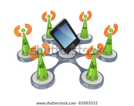 Cell towers around modern  mobole phone.Isolated on white background.3d rendered. - stock photo