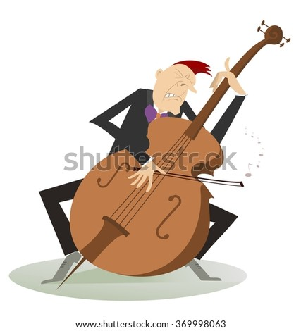 Cellist. Cellist is playing music with the great feeling  - stock photo