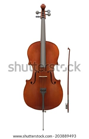 Cello instrument isolated - stock photo