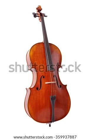 Cello isolated on white background for music, lessons and education concepts - stock photo