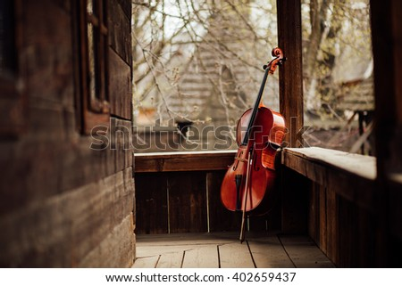 cello leaning on a wooden old porch - stock photo