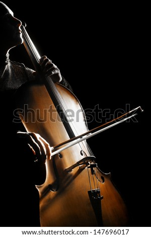 Cello musical instrument cellist playing. Classical orchestra musician player - stock photo