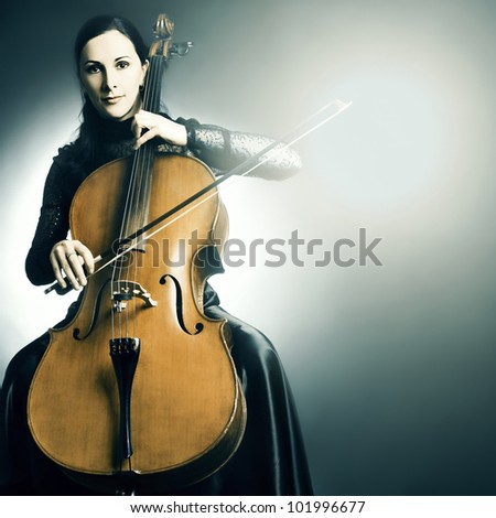 Cello musician music instrument cellist playing. - stock photo