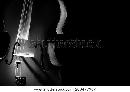 Cello orchestra music instruments closeup isolated on black - stock photo