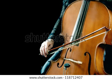 Cello orchestra musical instrument playing cellist musician. - stock photo