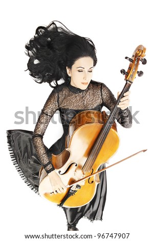 Cello playing cellist musician with flared hair isolated on white background - stock photo