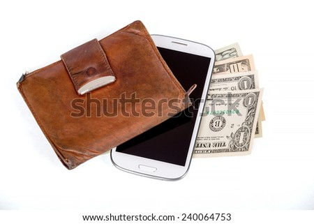 cellphone and money on white, money concept, expensive bill - stock photo
