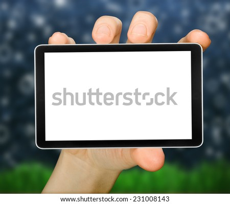 cellphone tablet like ipade in hand for advertisement. computer  - stock photo