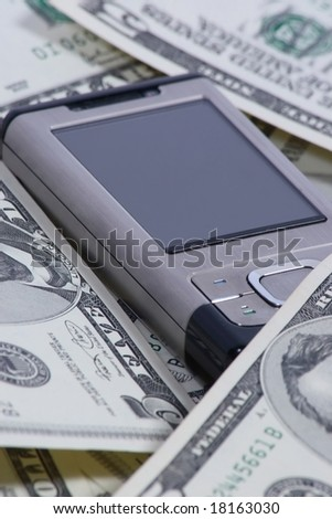Cellphone with dollars, business concept. - stock photo
