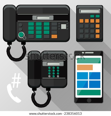 Cellphones, landline phone, calculator and smartphone icons in flat design style. Raster version - stock photo