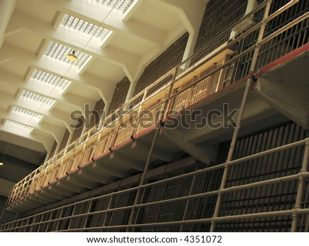 Cells at the Alcatraz Prison (The Rock), Alcatraz Island, San Francisco - stock photo