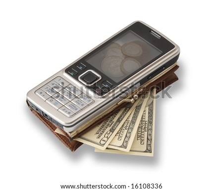 Cellular telephone as a purse for payment of the goods and the services, filled with money. - stock photo