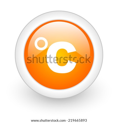 celsius orange glossy web icon on white background  - stock photo