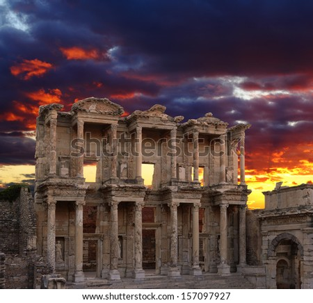 Celsus Library in Ephesus at sunset, Turkey  - stock photo