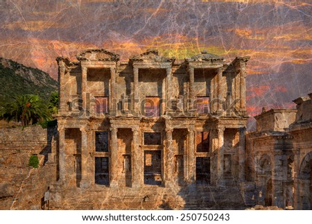 Celsus Library in Ephesus, marble texture - stock photo